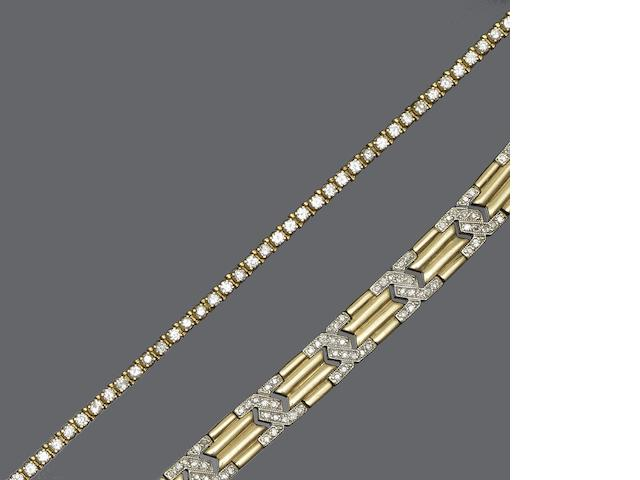 Two diamond set bracelets (2)