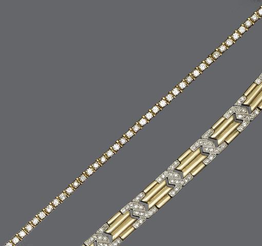 Two diamond set bracelets (2)