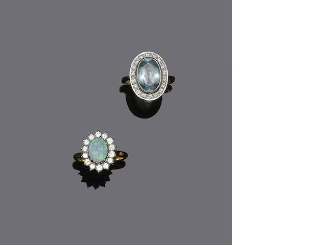 An aquamarine and diamond cluster ring and an opal and diamond cluster ring (2)
