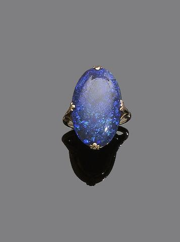 A black opal dress ring