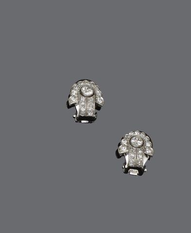 A pair of Art Deco diamond earclips