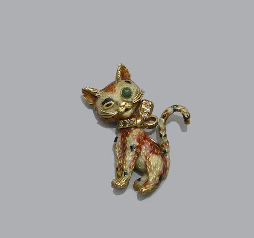 An enamel, diamond and emerald cat brooch