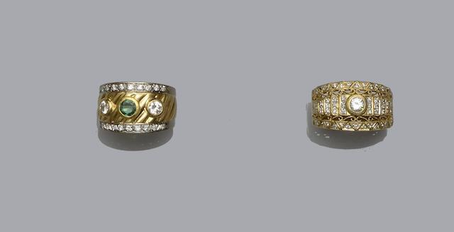 An emerald and diamond dress ring and a diamond dress ring (2)