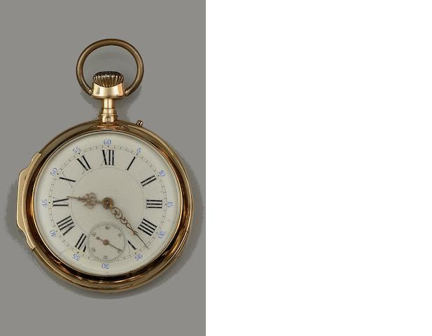 An 18ct gold Swiss open face keyless wind pocket watch