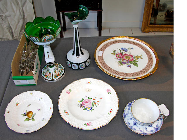 A group of porcelain and glass wares,