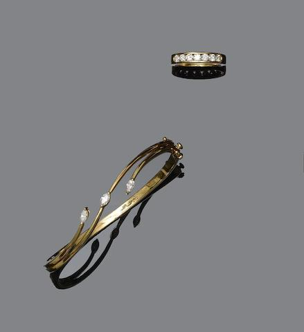 A diamond bangle and a seven stone diamond ring (2)
