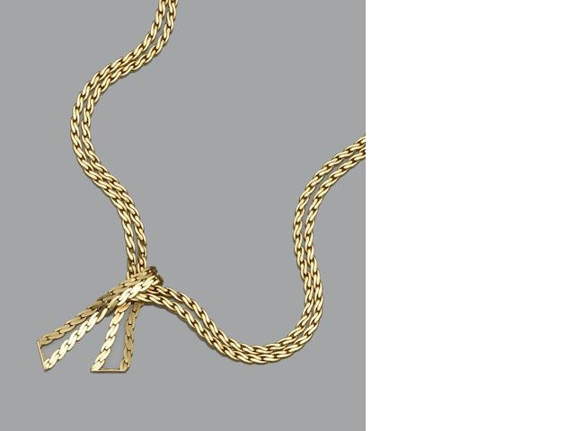 An 18ct gold two row necklace