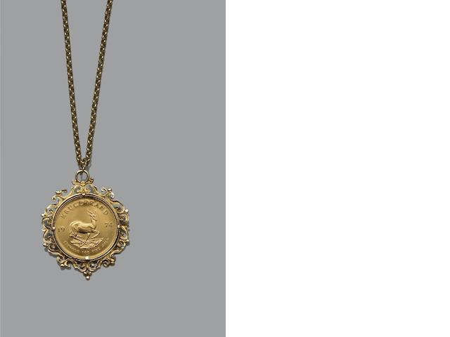 A Kruggerand pendant on chain