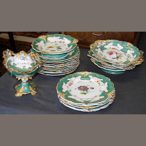 An English porcelain part dessert service, circa 1860-70