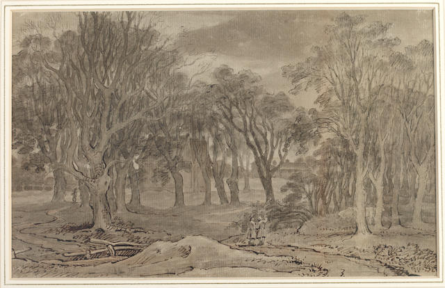 John Crome (British, 1768-1821) Hyde Park with a pencil drawing on the reverse of a figure resting and horses grazing, mounted in a double sided frame