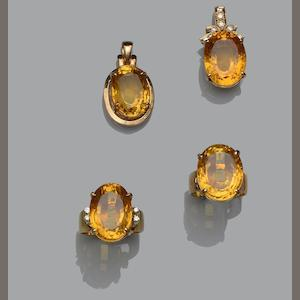 A collection of citrine jewellery (4)