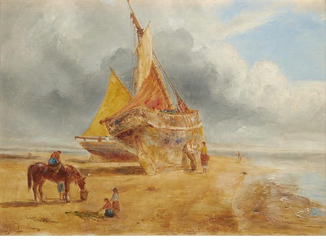 William Joseph Julius Caesar Bond (British, 1833-1926) Beached vessel