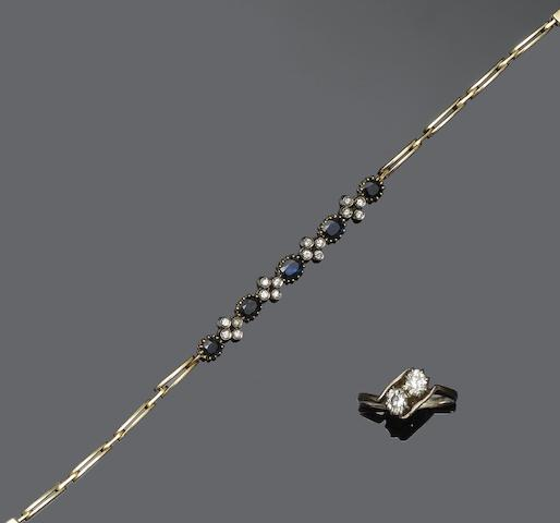 A sapphire and diamond bracelet and a diamond two stone ring (2)