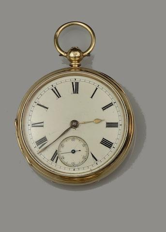 A late Victorian 18ct gold open face pocket watch