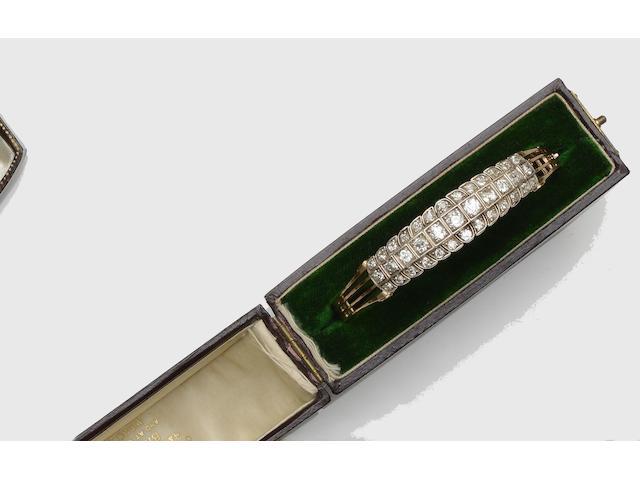 A Victorian diamond set bangle