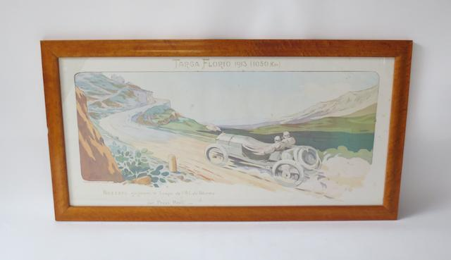 'Targa Florio 1913', lithographic print after Gamy,