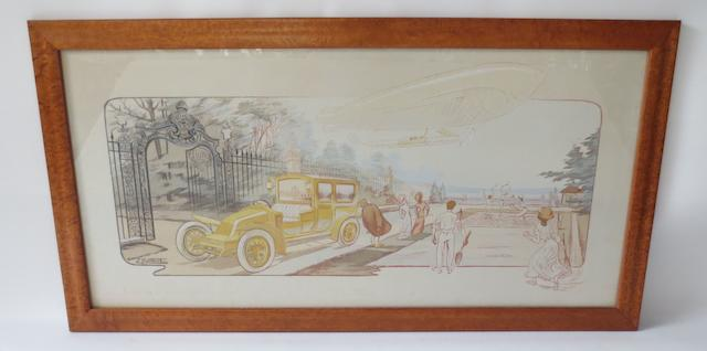 'En Visite', lithographic print after Ernest Montaut,