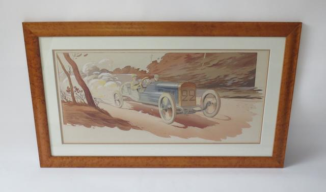 'Boillot Peugeot - French Grand Prix 1912', lithographic print after M Campion,
