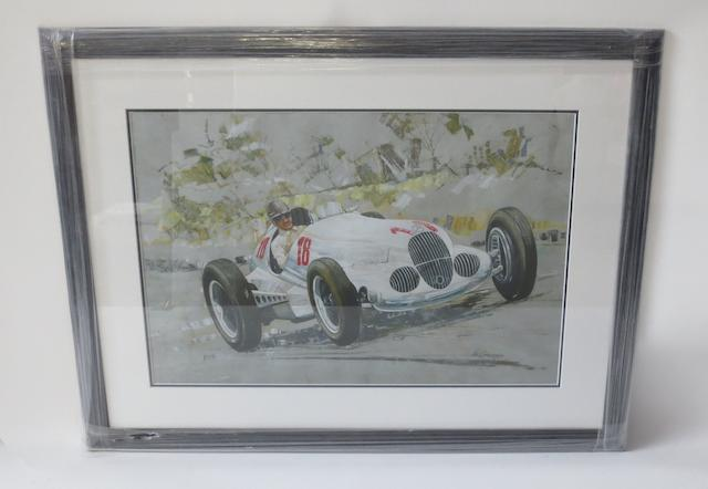 'Mercedes-Benz W125 - 1937 German Grand Prix', a print after Vic Granger,