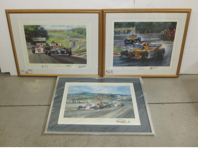 Three signed limited edition Formula 1 prints,