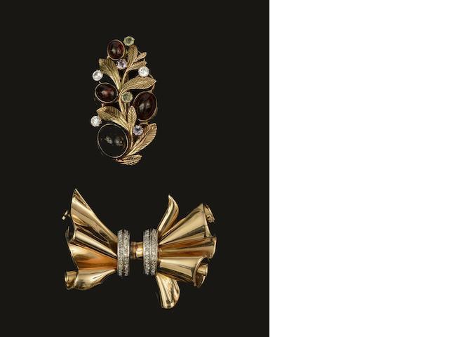 A diamond set bow brooch, circa 1940, and a vari gem-set leaf brooch (2)