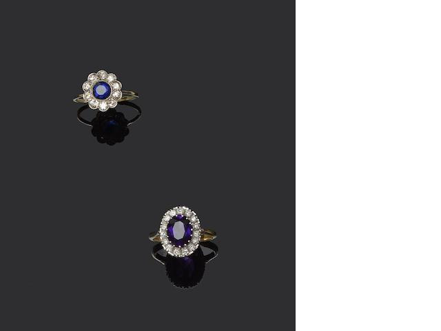 Three vari gem-set rings (3)