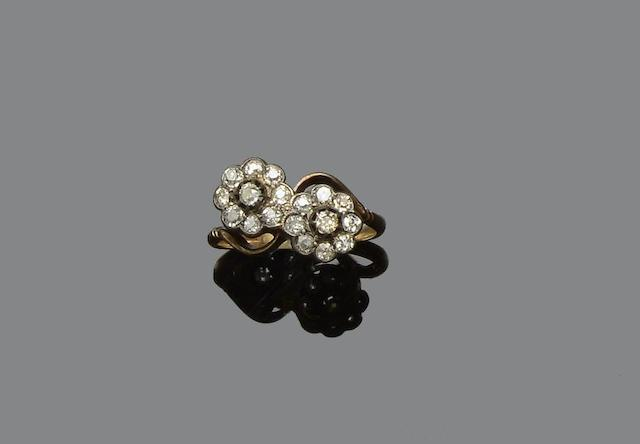 A diamond double cluster ring and a cultured pearl and diamond cluster ring (2)