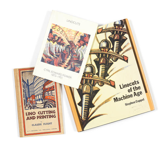 Various Artists Three Volumes 'Linocuts of the Machine Age: Claude Flight and the Grosvenor School' by Stephen Coppel, a catalogue raisonné published in 1995 by Scolar Press, with the original dustcover; 'The Art of Lino Cutting and Printing' by Claude Flight, published in 1934 by  Batsford; 'Linocuts, Cyril Edward Power 1872-1951, Catalogue X', an exhibition catalogue published in 1989 by the Redfern Gallery 3