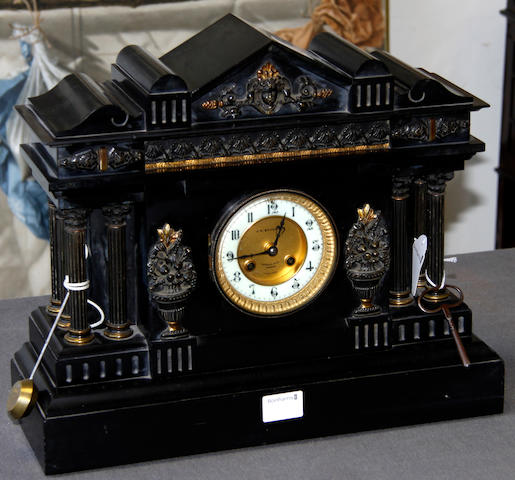 A Victorian slate Town Hall mantel clock,