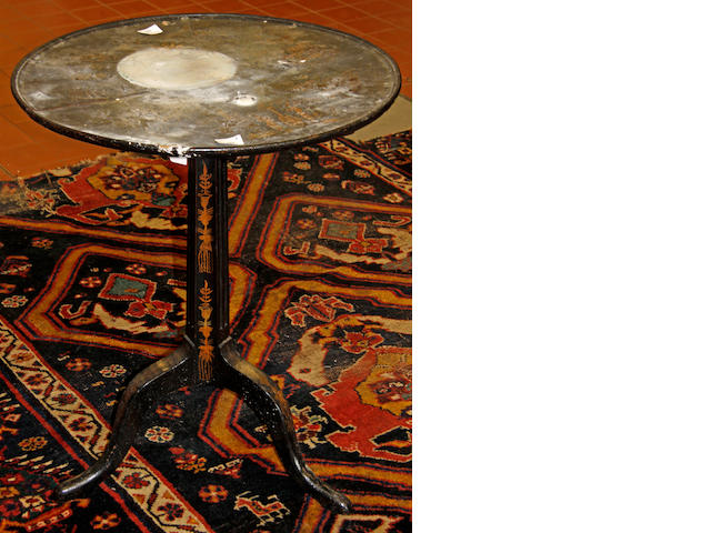 A George III black and gilt japanned tripod table,