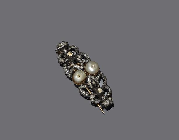A pearl and diamond brooch