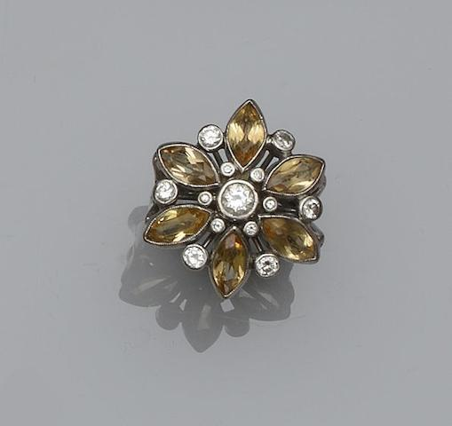 A topaz and diamond cocktail ring