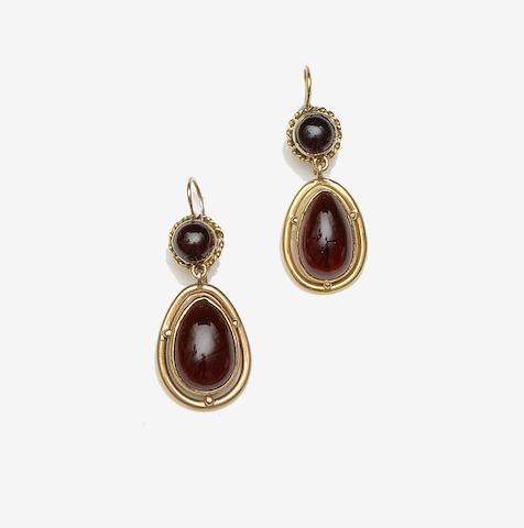 A pair of garnet set earpendants