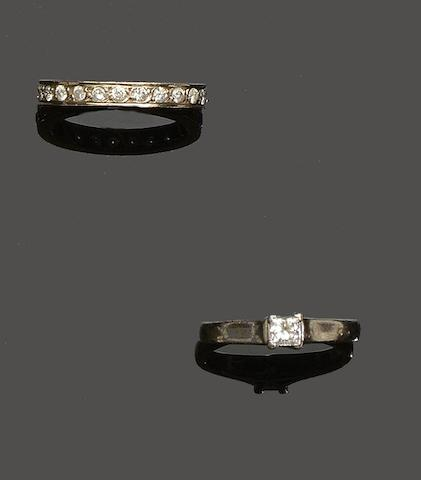 A diamond single stone ring and eternity ring (2)