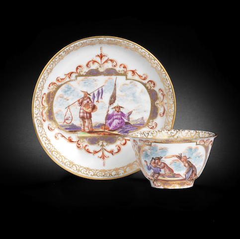 A Meissen teabowl and saucer, circa 1723