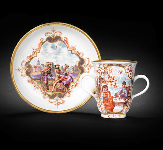 A very rare Meissen double-handled beaker and saucer, circa 1723