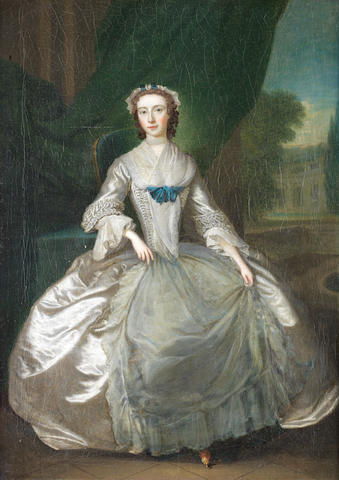 Circle of Charles Philips (London 1708-1747) Portrait of a lady, full-length,