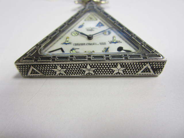 Solvil Watch Co. A Masonic silver open face keyless wind triangular shaped pocket watch Case No.310, Movement No.2140907, Circa 1890
