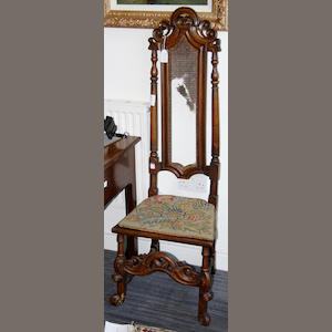 A 17th Century and later high back chair