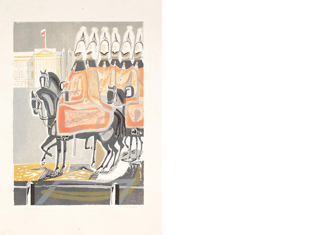 Edward Bawden R.A. (British, 1903-1989) Life Guards Autolithograph printed in colours, 1952/53, on wove, signed and titled in pencil, from the proposed edition of 50, printed by George Devenish at the RCA for the 'Coronation Year' exhibition at the Victoria & Albert Museum in 1953, 436 x 307mm (17 1/8 x 12 1/8in)(I) unframed