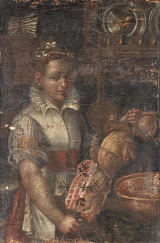 Circle of Vincenzo Campi (Cremona 1532-1591) A young woman cooking meat in a kitchen interior