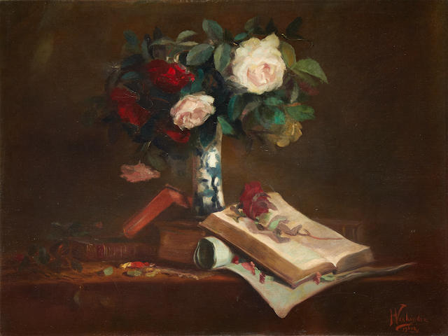 Isidoor Verheyden (Belgian, 1846-1905) Still life with roses in a blue and white vase and books resting on a table