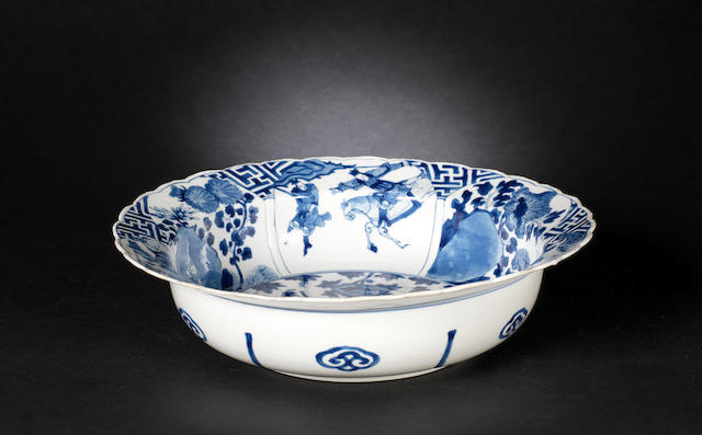 A blue and white deep bowl Kangxi six-character mark, and of the period