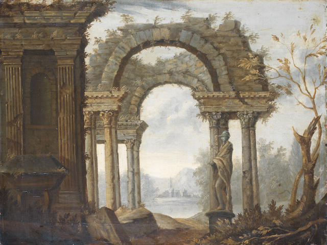 North Italian School, 18th Century An architectural capriccio with an arch, a statue and other buildings,