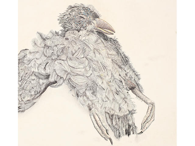 Lucian Freud (British, 1922-2011) Oil-bound puffin 22.2 x 30.7 cm. (8 3/4 x 12 1/8 in.)