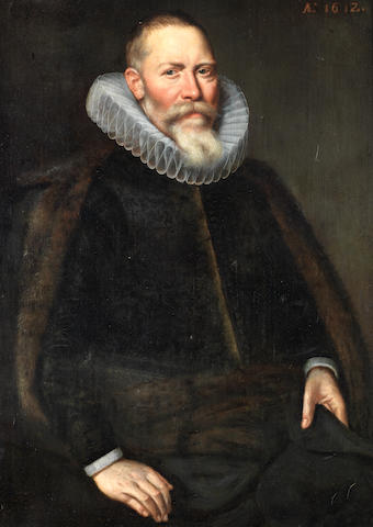 Circle of Cornelis van der Voort (Antwerp 1576-1624 Amsterdam) Portrait of a gentleman, three-quarter-length, in a black coat and fur-trimmed mantle;   (2)
