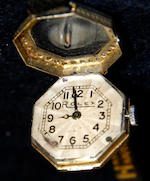 Rolex diamond cocktail watch, the dial and case is signed Rolex but the movement is a replacement modern quartz movement which has been screwed onto the original dial, single-cut diamond set bezel, on a later black leather bracelet strap, dial width 1.7cm.