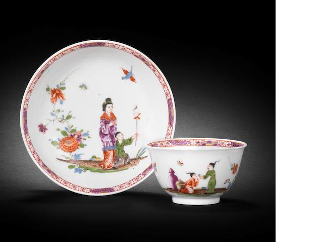 A rare Meissen teabowl and saucer, circa 1730