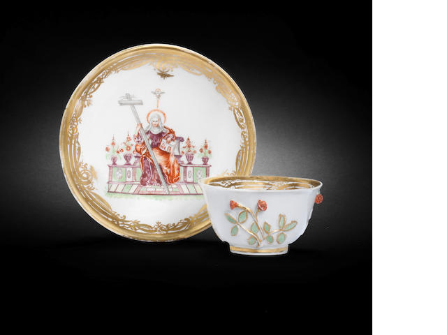 A Meissen Hausmaler teabowl and saucer, the porcelain circa 1725, the decoration mid 18th century