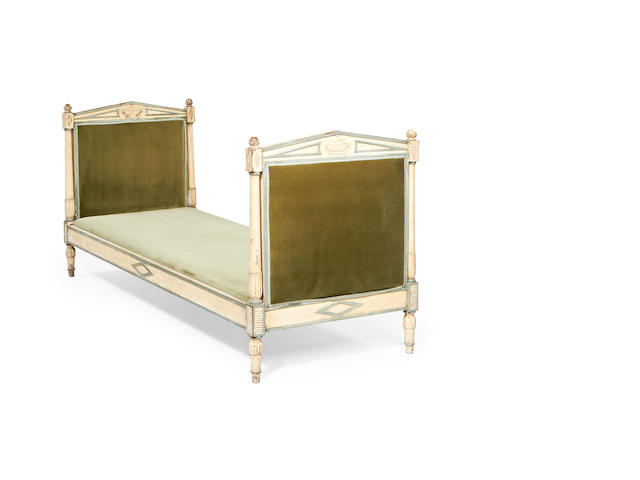A North European mid 19th century cream and blue painted single bed